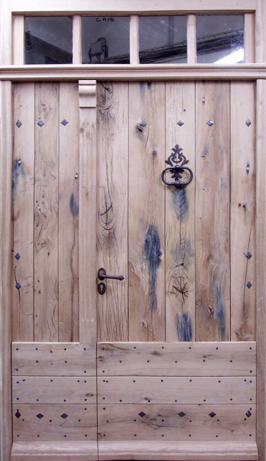 Double leaf old oak door front doors rustic doors portes for Double porte