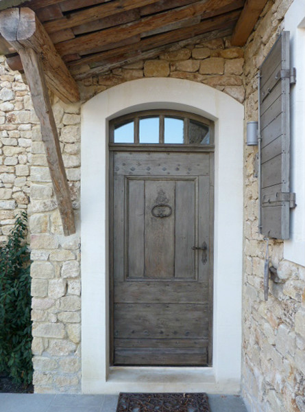 Solid wood simple farmhous door front doors portes antiques - Seuil de porte d entree ...