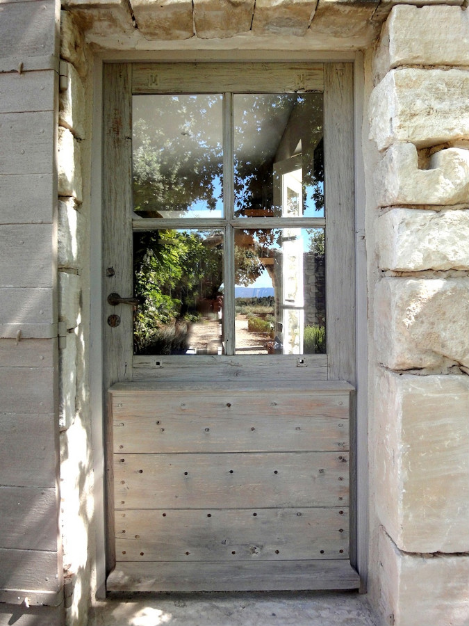 Door with glazing and provencal shutter front doors for Porte french